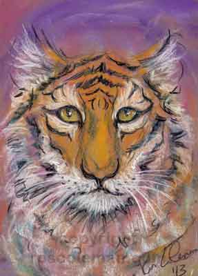 Tiger Spirit Guide Portrait by Ros Coleman Psychic Artist